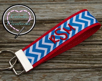 Monogrammed Chevron Key Fob Keychain - Lots of colors to choose from - Monogrammed Keychain - Bridesmaid Gift - Monogram Wristlet
