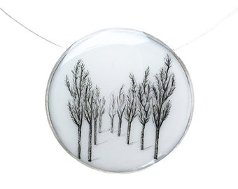 Tree Line Large Round Necklace in Sterling Silver