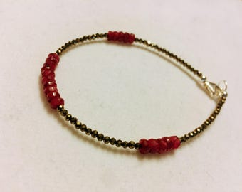 Ruby and Pyrite Collins Bracelet