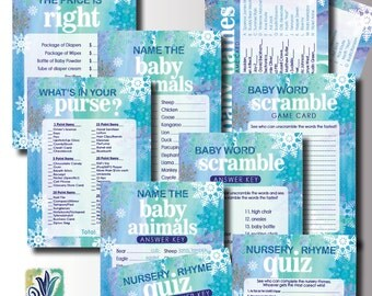 Blue Winter Baby Shower Games. DIY card. Digital Printable cards 5x7