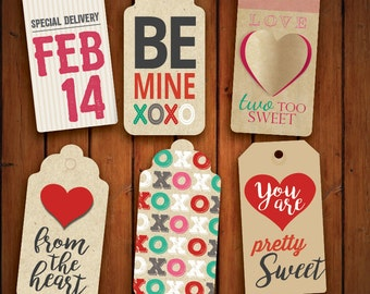 Valentines Bag Tags, Valentine Thank You Tags, Valentines Hang Gift Tag, Instant Download, DIY