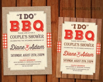 I do BBQ  Couple's Shower, BBQ Couple Shower Invitation, Digital Printable DIY