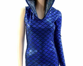 One Long Left Sleeve Hooded Royal Blue Dragon Scale Bodysuit Romper with Black on Black Shattered Glass Hood Liner - 154359