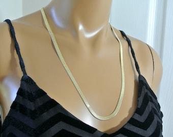 14K Gold Herringbone Necklace Made in Italy