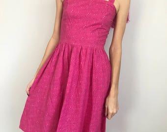 Vtg 90s pink water drop dress xs-s