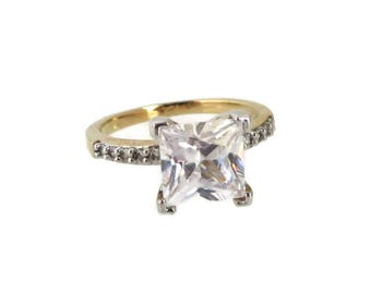 Vintage CZ Solitaire Engagement Ring, Gold Plated Princess Cut CZ Ring, Bridal Jewelry Size 8