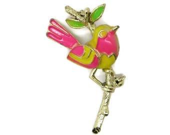 Bright Enamel Bird Brooch, Vintage Yellow, Green, Pink Figural Gold Tone Pin