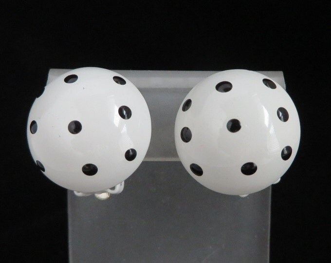 Black and White Polka Dot Earrings, Vintage Dome Button Clip-on Earrings