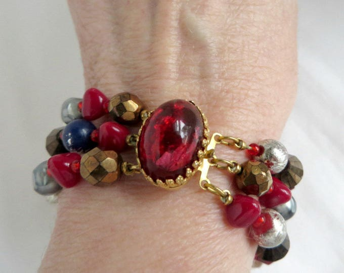 Hattie Carnegie Bracelet, Triple Strand Bracelet, Red Glass Bead Bracelet, Signed Hattie Carnegie Jewelry