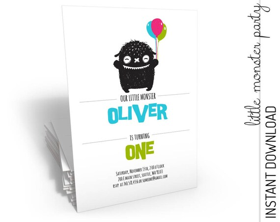 Little Monster Birthday Invitation INSTANT DOWNLOAD