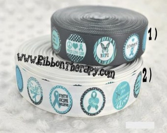 3 yards Ovarian Cancer Awareness Ribbon - 7/8 inch Printed Grosgrain Ribbon