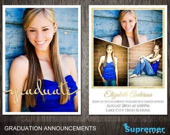 Glitter Graduation Card Template for Photoshop - Senior Graduation Announcement Template - Graduation Invitation Card - PSD Template