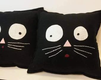 Black Kat with a pack'n'back pagan pillow poppet