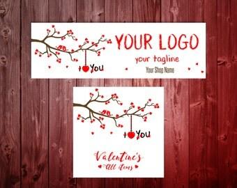 Valentine's Facebook Timeline and Album Cover - Lovebird Hearts