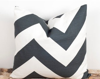 SALE ENDS SOON Gray Chevron Print Pillow Case, Sofa Pillow Covers, Sham Pillowcases, 18 x 18