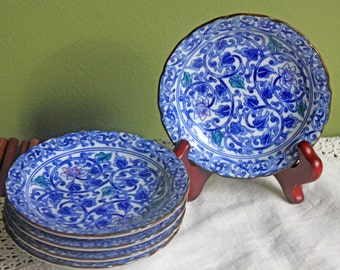 Asian Style Small Bowls.  Berry or Nuts Serving Bowls with Scalloped Rim with Blue and Green Decor. Set of Five Bowls  Made in Japan