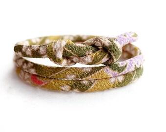 Matcha Green Kimono Bracelet, Choker necklace, Japanese chirimen jewelry, Matcha moss green yellow - HANA MORI -