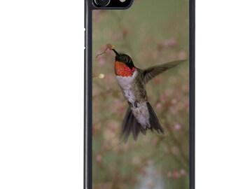 iPhone 5 5s 6 6s 6+ 6s+ SE 7 7+ iPod 5 6 Phone Case, Ruby Throated Hummingbird, Bird, Animal, Nature, Wildlife, Plus