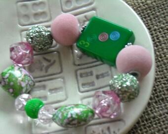 Mahjong Gift - Green Mahjong Tile Bracelet - Jesse James Beads Jewelry - Mahjong Jewelry - Gift Idea - Mahjong Bracelet