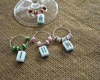 Mahjong Wine Charms - Mahjong Wine Glass Charms - Oriental Glass Markers - Free Shipping -  Gift Set - Wine Charms