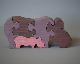 SWISS WOODEN TOY, Handmade Wooden Puzzle, Hippo Family, Hippopotamus Wooden Toy, Swiss Made Wooden Toy, Made in Switzerland, Naef