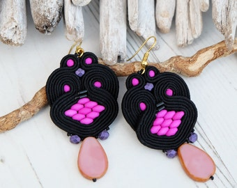 Purple Pink Black Soutache Earrings-Black Retro Earrings-Beaded Statement Earrings-Hippie Boho Earrings