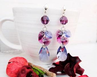Long Purple Pink Amethyst Swarovski Earrings-Long Evening Statement Crystal Earrings Jewellery-Swarovski-Dangle Multi Tone Silver Earrings