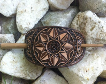 Celtic knot hand carved leather hair barrette - hair accessories