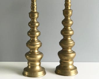 Marvelous Tall Solid Brass Candlesticks / Floor Brass Candlesticks / Large Brass  Candlesticks / Brass Candle Holders