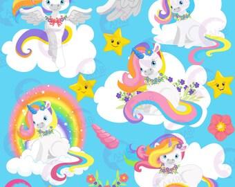 Unicorn clipart, Unicorn clip art, horse clipart, unicorn baby clip art, Blue unicorns, Commercial Use, AMB-1382