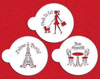 "3 PC ""I Love Paris France"" Custom Cookie Stencil Set (Travel, Europe, Vacation, Eiffel Tower, Poodle) - Quality Stencils from Bakell - DJ265"