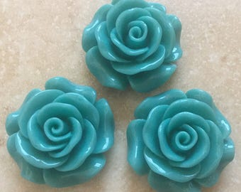 3 pcs Teal Cabochon Flowers with Hole,28 mm Rose cabochon with hole,drill resin flower,rose cabochon Flower,28 mm dark green cabochon flower