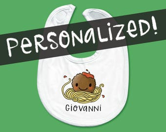 Baby Bib - Cute Hand Drawn Meatball and Spaghetti with Personalization