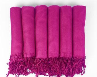 Pashmina Shawl  Fuschia - Hot Pink - Bridesmaid Gift, Wedding Favor, Bridal party gift - Monogrammable