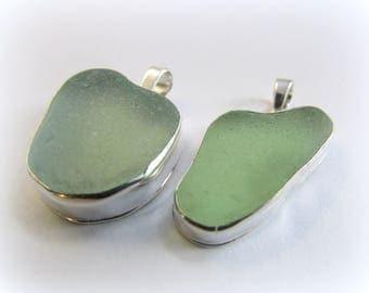 HEART sea glass. Sea glass necklace.  Sterling silver necklace. Maine. Sea Glass Pendant. Sea glass jewelry. Bezel sea glass. Beach glass.