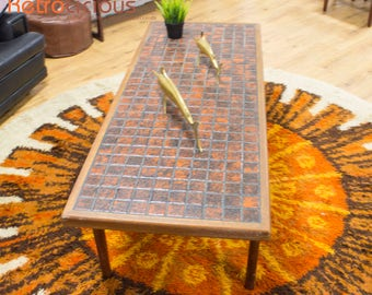 Danish Teak and Tiled oversized Coffee Side Sofa Table