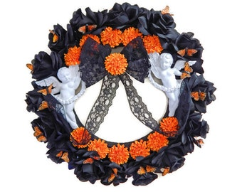 Day Of The Dead, Wreaths, Memorial Wall Wreaths, Angels, Altar Items, Black Roses, Dia De Los Muertos Altar Items, In Memory Of, Wreaths