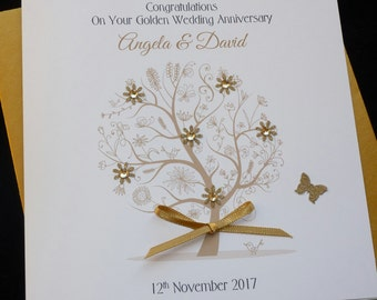 Gold / 50th Wedding Anniversary tree personalised card