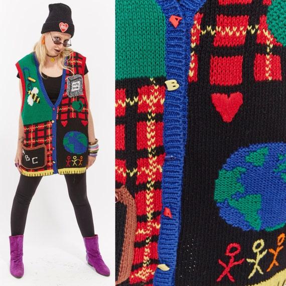 Vtg 80s NOVELTY TEACHER SWEATER Cardigan Jacket Vest Trophy Education Alphabet Pencil Knit Embroidered Embellished Ornate Boho Hipster Retro