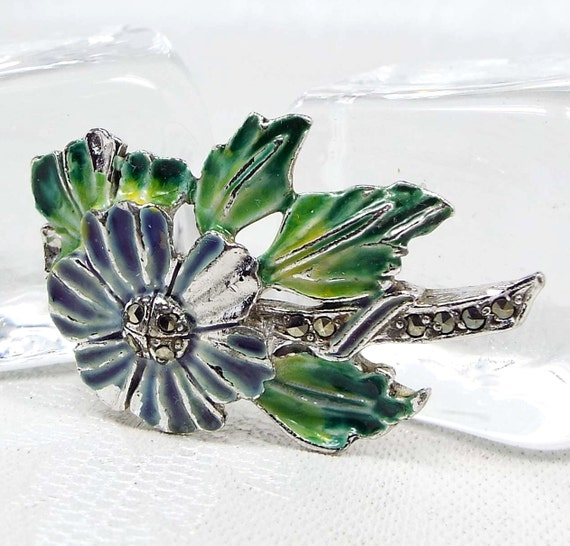 Vintage Silver Sweet Blue Green Enamel Pansy Daisy Flower and Leaf Brooch Pin