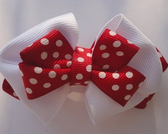 Red and White Baby Girls Bow. Polka Dot Red Newborn Bow