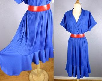 Vintage 80s Secretary Dress 50s Style Dress Blue Shirt Dress Party Dress 1980s Blue Dress Day Dress Full Skirt Midi Skirt Short Sleeves