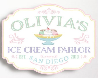 Ice Cream Party Sign PRINT YOURSELF Vintage Backdrop Ice Cream Parlor Shoppe Banana Split Sign Pink Mint Social Girls Birthday 27x20 Inches