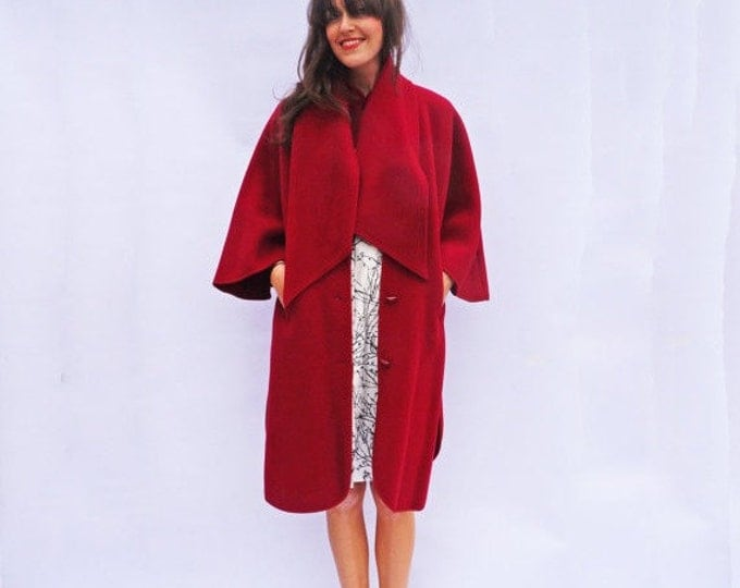 Red Wool Cape, Vintage 80s Red Wool Long Winter Cape Coat, Wine Red Wool Cloak, Swing Coat, Wool Coat Women, Red Riding Hood, Wool Poncho