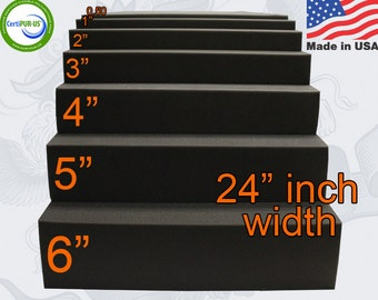 """0.5""""(half inch) to 6"""" Inches Thick x 24"""" x 82"""" Upholstery Seat Cushion Rubber Foam Sheet"""