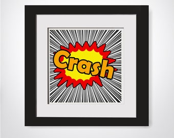 Crash Superhero Printable|Superhero Party Decor|Hero Playroom Art|Superhero Playroom Decor|Superhero Wall Art|Superhero Print|Comic Book