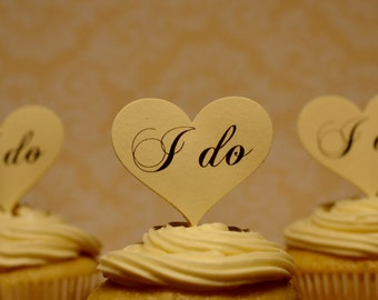 Wedding cupcake toppers, wedding picks, I do cupcake toppers, i do food picks, engagement cupcake toppers ( heart shape ) set of 12 toppers