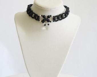Black Beaded choker necklace with crystal