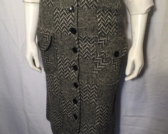 Vintage Pam Rogers Black White Overscaled Herringbone and Plain Weave Skirt Seventies 70s with Pockets XS Extra Small