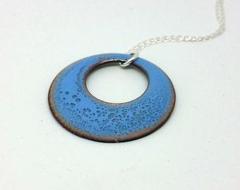 Blue Enamel Circle Pendant Round Disc Necklace Boho Jewellery Copper and Enamel Necklace